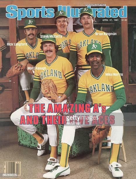 April 27 1981 Sports Illustrated via Getty Images Cover Baseball Portrait of Oakland Athletics pitchers Rick Langford Matt Keough Steve McCatty Brian...