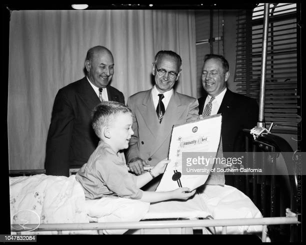 Chest Welfare Federation 27 April 1954 Councilmen Everett G Burkhalter Ernest E Debs Harold Harby visit patient Larry 8 years HandoutSupplementary...