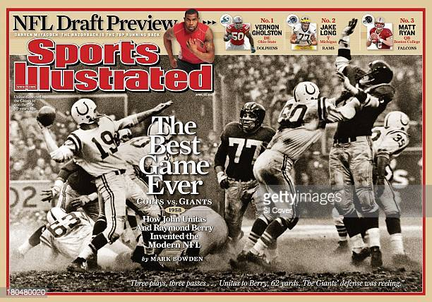 Football NFL Championship Baltimore Colts QB Johnny Unitas in action pass vs New York Giants during sudden death overtime at Yankee Stadium View of...