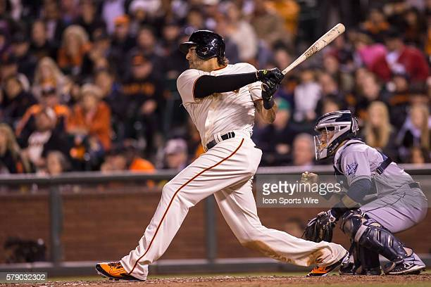 San Francisco Giants left fielder Michael Morse follows the trajectory of the ball after getting ahit during the game between the San Francisco...