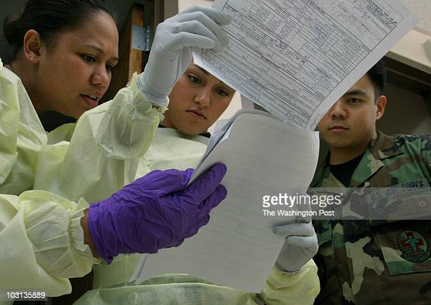 April 29 2008 PLACE Andrews Air Force Base MD CREDIT jahi chikwendiu/twp From left Sr Airmen Tisha Good Angelica Ybarra and Larry Milo check the...