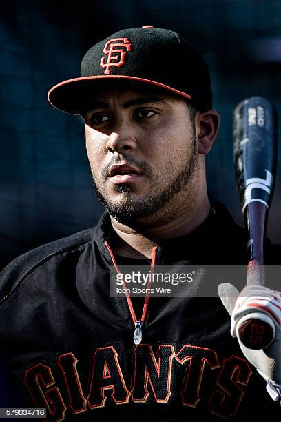 A portrait of San Francisco Giants catcher Hector Sanchez at the warmip before the game between the San Francisco Giants and the San Diego Padres at...