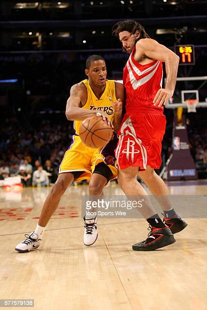 April 3 2009 Trevor Ariza of the Los Angeles Lakers during the game The Los Angeles Lakers defeated the Houston Rockets by the final score of 9381 at...