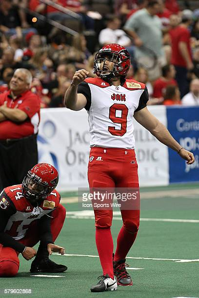 Jacksonville Sharks kicker Fabrizio Scaccia watches an extra point during the Orlando Predators and the Jacksonville Sharks game at Jacksonville...