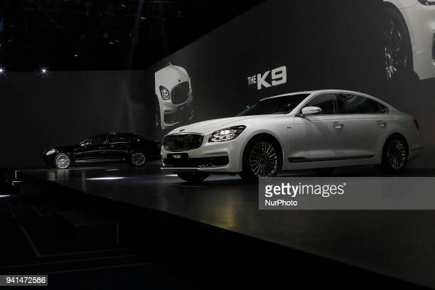 April 3 2018Seoul South KoreaKIA Motor Company New Sedan Vehicle The K9 displayed on the show stage during an Unveil Event at Hotel's Grand Ballroom...