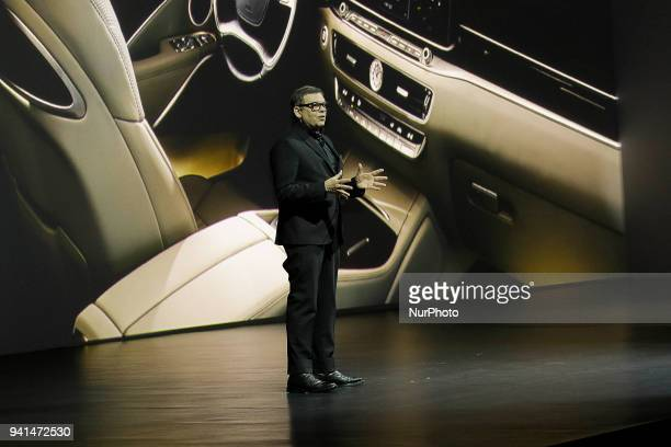 April 3 2018Seoul South KoreaKIA Motor Company Vice President Peter Schreyer presentation about their New Sedan Vehicle The K9 Unveil Event at...