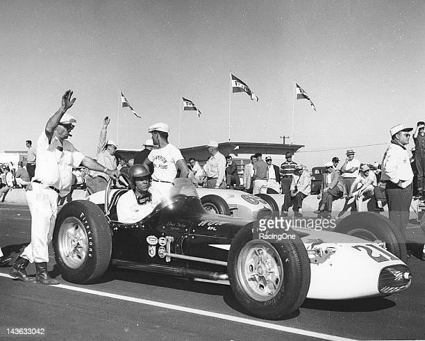 Elmer George of Hockerville OK gets set for the start of the Daytona 100 USAC Indy Car race at Daytona International Speedway George the 1957 USAC...