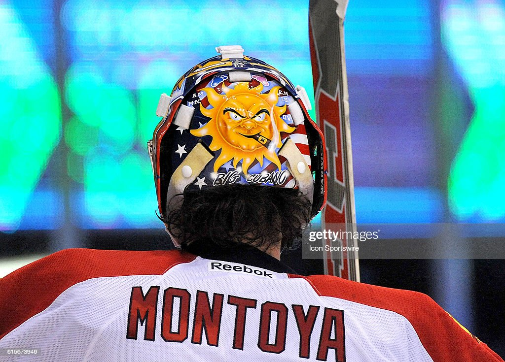 A view of the graphics on the the back plate of the mask worn by Florida Panthers goalie Al Montoya (35) during play against Toronto Maple Leafs at Air Canada Centre.