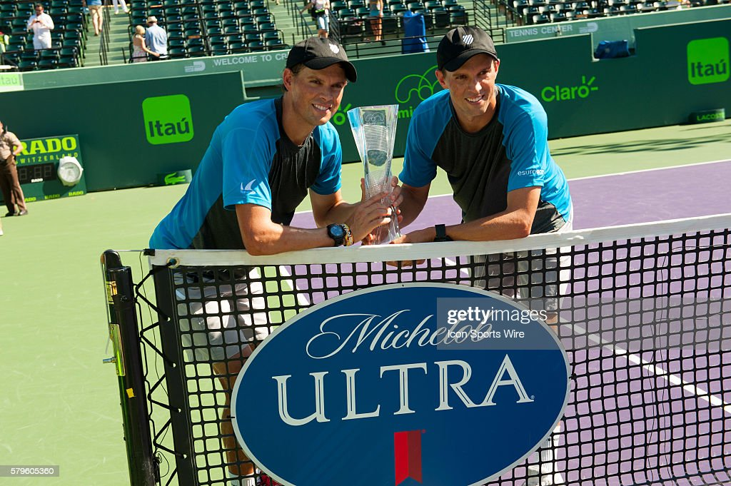 Mike and Bob Bryan win the Mens Doubles Finals 6-3, 1-6, 10-8 against Jack Sock and Vasek Pospisil at the Miami Open in Key Biscayne, FL