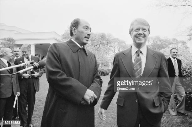 April 5 1977 President Jimmy Carter and Egyptian President Anwar Sadat at the White House Washington DC