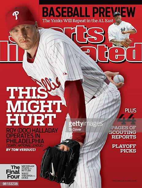 April 5, 2010 Sports Illustrated via Getty Images Cover: Baseball: Portrait of Philadelphia Phillies pitcher Roy Halladay during spring training...