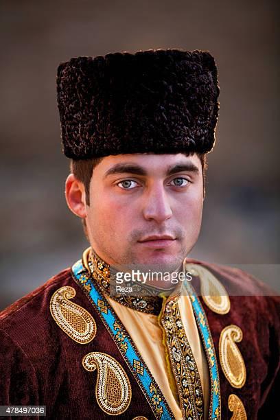 April 5 Atashgah Surakhani Baku Azerbaijan A portrait of a member of Azerbaijans national dance group dressed in traditional clothing The group...