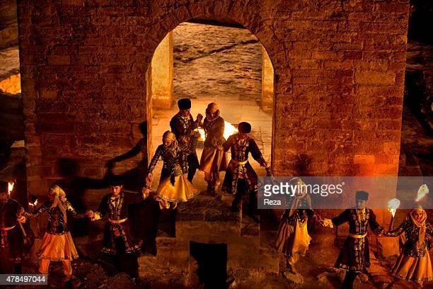 April 5 Atashgah Surakhani Baku Azerbaijan Members of Azerbaijans national dance group perform a dance around the eternal flame in the temple of fire...