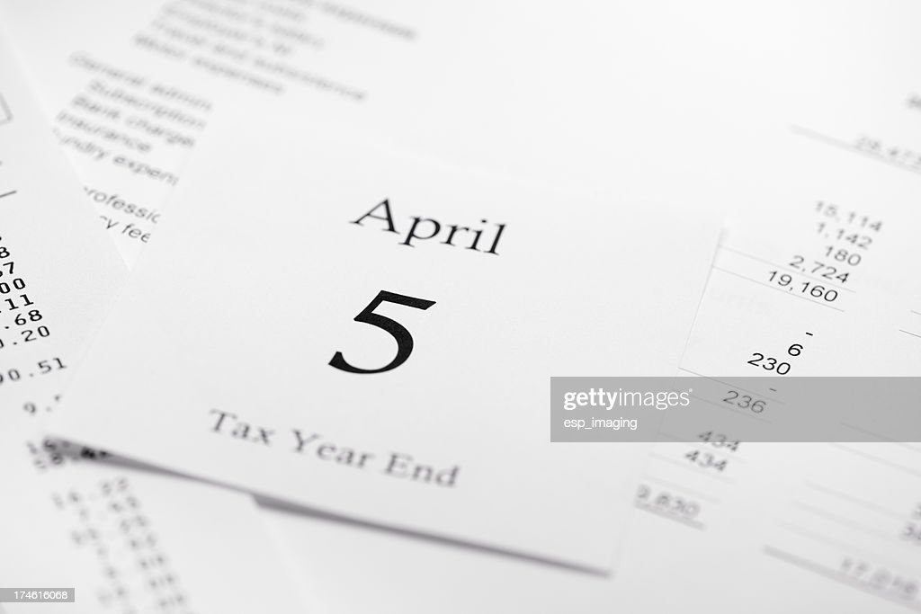 April 5th Tax Accounting Year End : Stock Photo