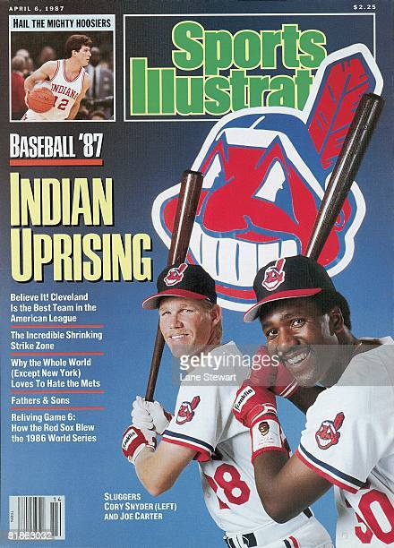 April 6 1987 Sports Illustrated Cover Baseball Season Preview Portrait of Cleveland Indians Cory Snyder and Joe Carter during spring training at Hi...