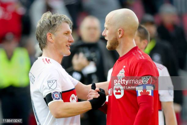 TORONTO ON April 6 At the end of the game Chicago Fire midfielder Bastian Schweinsteiger greets Toronto FC midfielder Michael Bradley The Toronto...