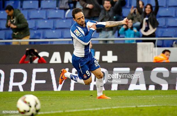 Sergio Garcia celebration in the match between RCD Espanyol and Elche CF for the week 29 of the Liga BBVA played at the Power8 Stadium on april 22...