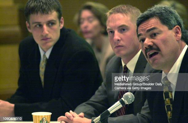 April 7 2004 / Broomfield CO / University of Colorado Head Coach Brian Cabral right and football players Dusty Sprague left and Joel Klatt testify to...