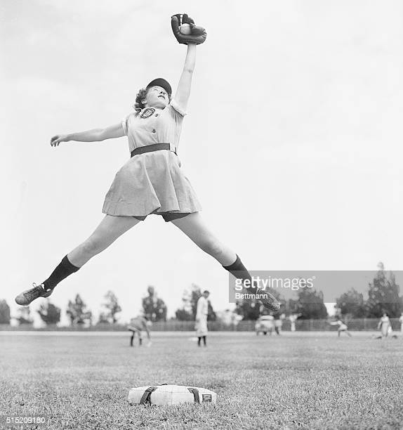 April 8 1948 OpaLocka Florida Dorothy Harrell of Los Angeles star shortstop of the Chicago Collens spears a line drive during spring training for all...