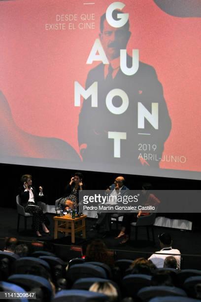 Ariane Toscan du Plantier director of Gaumont Sidonie Dumas Seydoux Alejandro Pelayo Rangel Clémentine MourãoFerreira attend a press conference at...