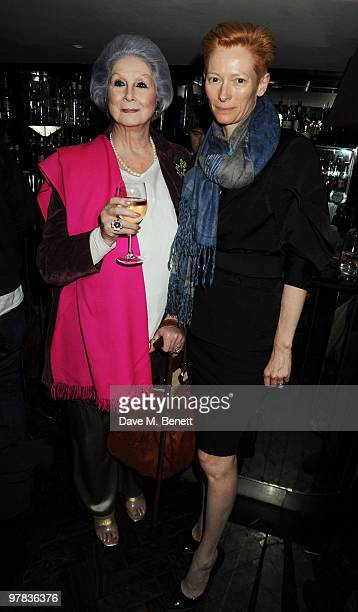 April Ashley and Tilda Swinton attend the 'I Am Love' screening at The Electric Cinema on March 18 2010 in London England