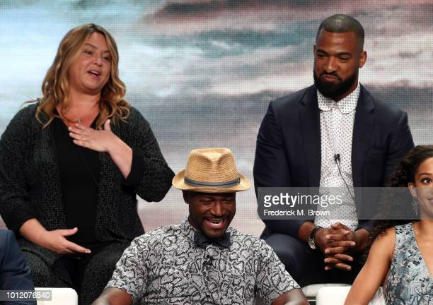 April Blair and Spencer Paysinger and Taye Diggs from All American speak onstage at the CW Network portion of the Summer 2018 TCA Press Tour at The...