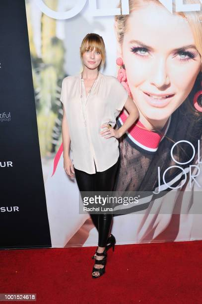 April Bowlby attends the GENLUX Fashion And Philanthropy Magazine Issue Release Party hosted by actress/model Olivia Jordan at SUR Lounge on July 18...