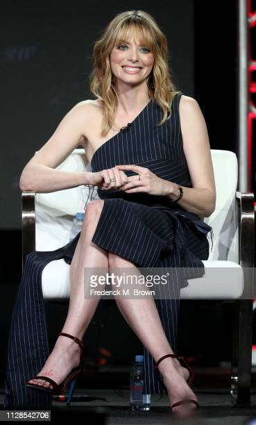 April Bowlby of the television show Doom Patrol speaks during the Warner Bros segment of the 2019 Winter Television Critics Association Press Tour at...