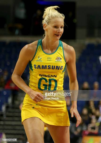 April Brandley of Australia in action during the Vitality Netball International Series match between South Africa and Australian Diamonds as part of...