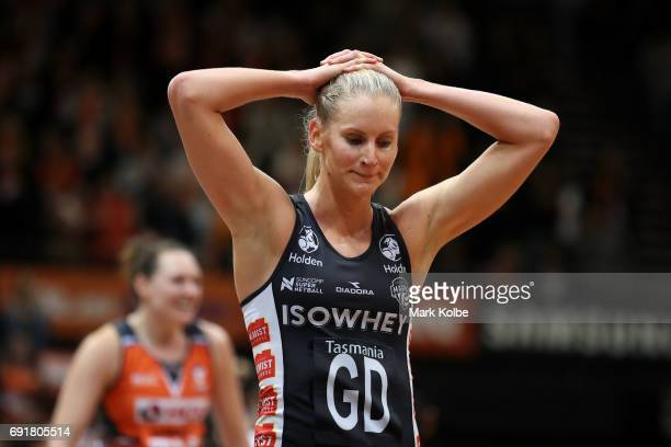 April Brandley of the Magpies looks dejected after defeat during the Super Netball Major Semi Final match between the Giants and the Magpies at...