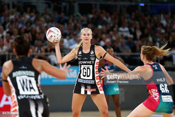 April Brandley of the Magpies looks to make a pass during round one of the Super Netball match between the Vixens and Magpies at Hisense Arena on...