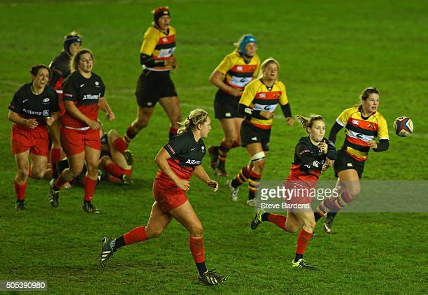 April Brown of Saracens Women passes the ball during the Ladies Premiership Final match between Richmond Ladies and Saracens Women at Twickenham...