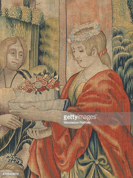 April by Benedetto da Milano upon drawing by Bramantino c 15031508 16th Century tapestry Italy Lombardy Milan Sforza Castle Detail Before the eyes of...