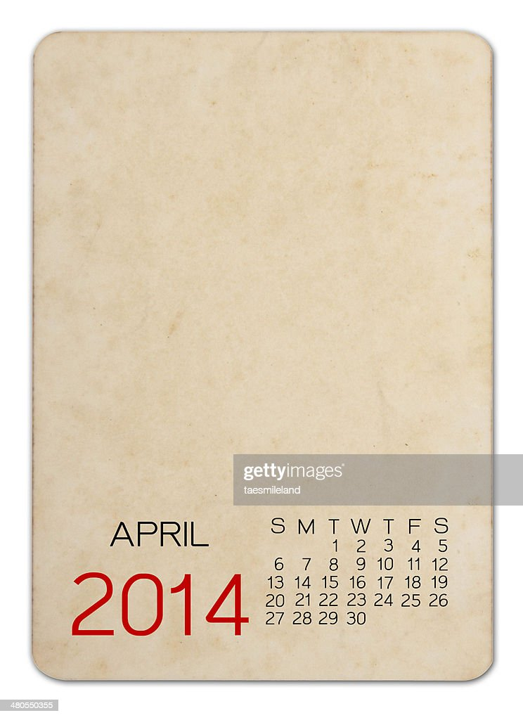 April Calendar 2014 on the Empty old photo : Stock Photo