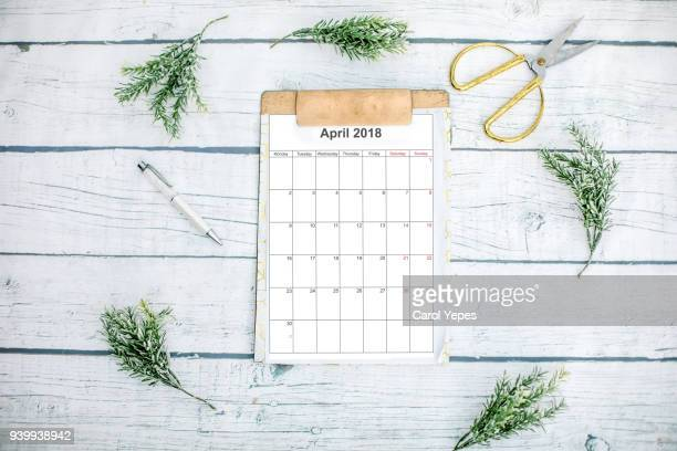 april calendar in clipboard with eucaliptus branches