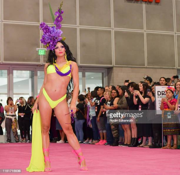 April Carrión walks the pink carpet at RuPaul's DragCon LA 2019 at Los Angeles Convention Center on May 25 2019 in Los Angeles California