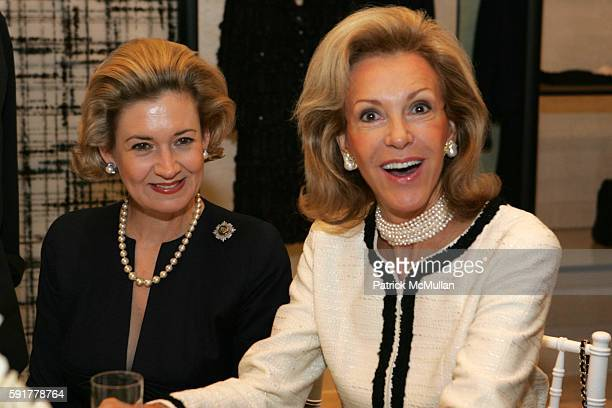 April Gow and Mai Hallingby Harrison attend The Camellia Luncheon Sponsored by Chanel to benefit The New York Botanical Garden at Chanel on October...