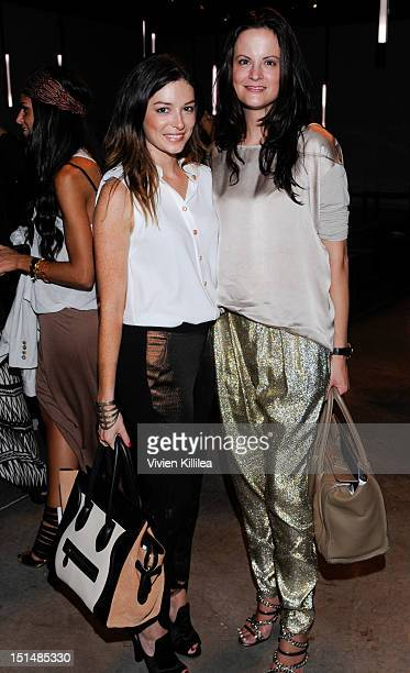 April Hennig of Bergdorf Goodman and Denise Magid of Saks 5th Avenue attend the Helmut Lang spring 2013 fashion show during MercedesBenz Fashion Week...
