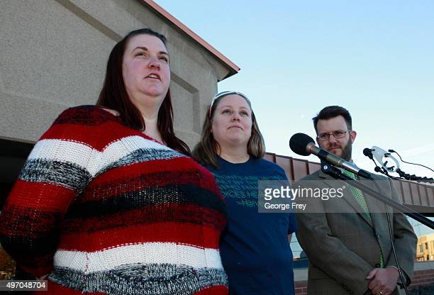 April Hoagland her wife Beckie Peirce their attorney Jim Hunnicutt talk to the press after a Utah juvenile judge amended an order to remove the...