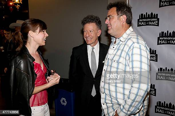 April Kimble Lyle Lovett and Vince Gill chat backstage during the 2015 Austin City Limits Hall of Fame Induction and Concert at ACL Live on June 18...