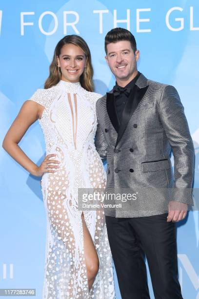April Love Geary and Robin Thicke attend the Gala for the Global Ocean hosted by HSH Prince Albert II of Monaco at Opera of MonteCarlo on September...