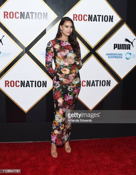 April Love Geary arrives at the 2019 Roc Nation THE BRUNCH on February 09 2019 in Los Angeles California