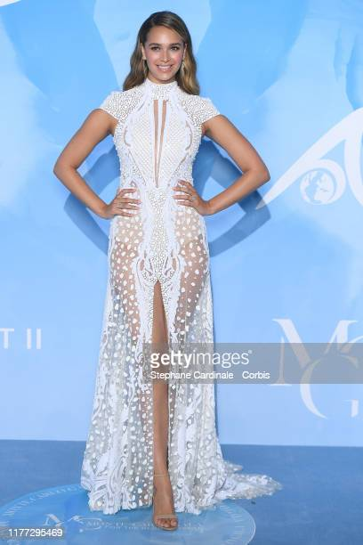 April Love Geary attends the Gala for the Global Ocean hosted by HSH Prince Albert II of Monaco at Opera of MonteCarlo on September 26 2019 in...