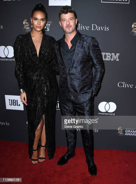 April Love Geary Robin Thicke arrives at the The Recording Academy And Clive Davis' 2019 PreGRAMMY Gala at The Beverly Hilton Hotel on February 09...