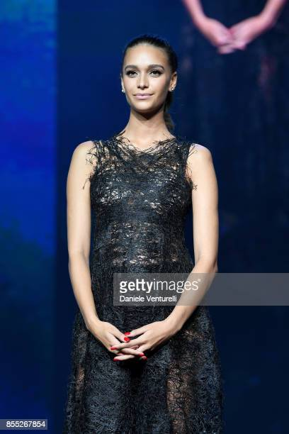 April Love Geary speaks on stage at the auction for the inaugural 'MonteCarlo Gala for the Global Ccean' honoring Leonardo DiCaprio at the Monaco...