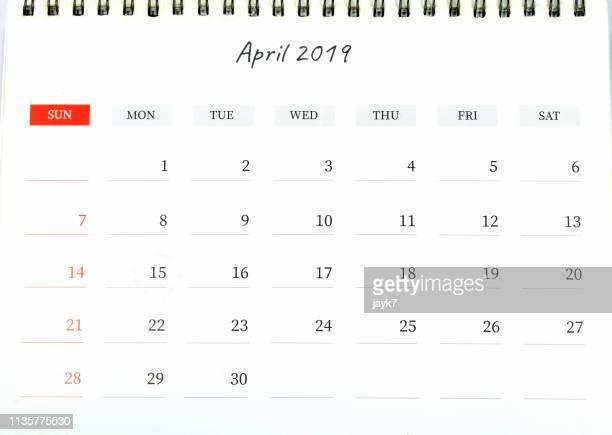 april month calendar - kalender stock-fotos und bilder