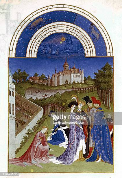 April Planetary figure of Sun in his chariot Zodiac figures of Aries and Taurus at top Duc de Berry in blue robe left with ladies and attendants in...