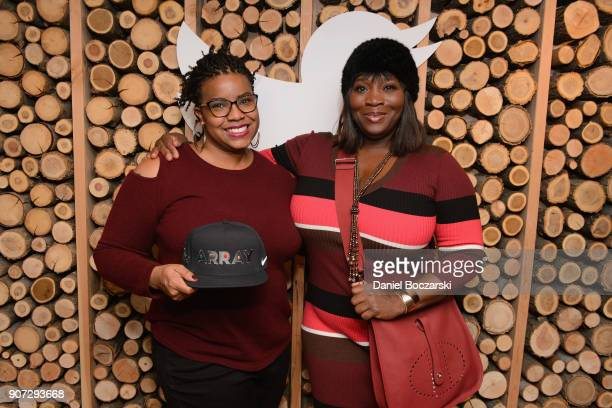 April Reign and Bevy Smith attend Twitter and ARRAYs #HereWeAre brunch at the #TwitterLodge during the 2018 Sundance Film Festival on January 19 2018...