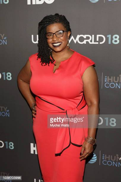 April Reign attends the 2018 UrbanWorld Film Festival at the 42nd st AMG Theater on September 22 2018 in New York City