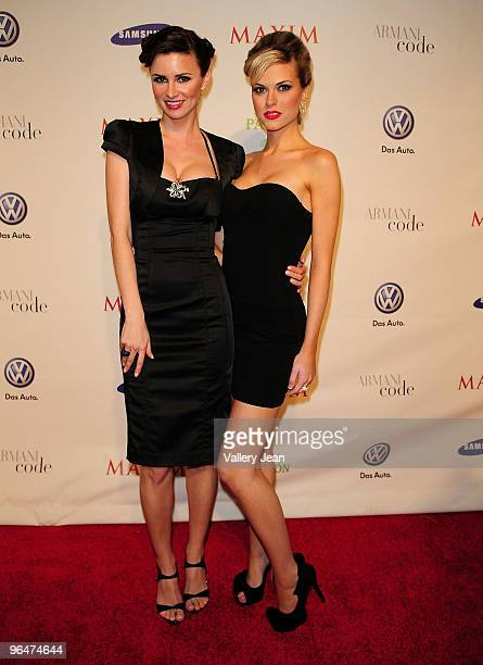 April Rose, Maxim Hometown Hottie 2008 and Kristin Gustafson, Hometown Hottie 2009 attend The Maxim Party 2010 at The Raleigh on February 6, 2010 in...